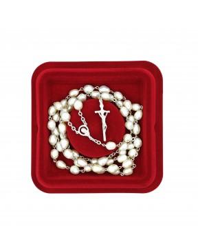 Srebrny różaniec perłowy +...