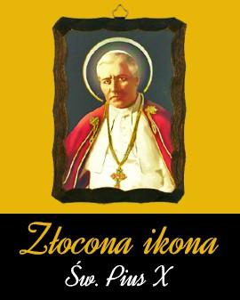 Złocona ikona Św. PiusX